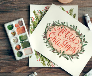 art, handlettering, and watercolor image