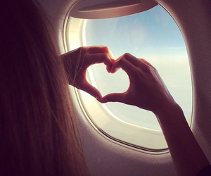 heart, airplane, and girl image
