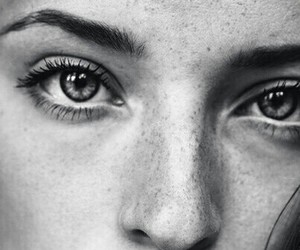 eyes, girl, and black and white image