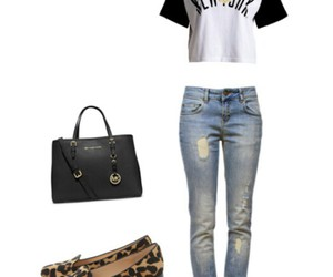 black and white, jeans, and loafers image