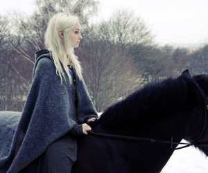 blonde, elf, and horse image