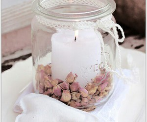 bottle, dried flowers, and candle image