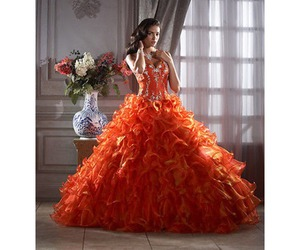 gown, orange, and pretty image