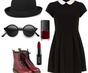 outfit, dress, and black image