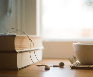 book, music, and tea image