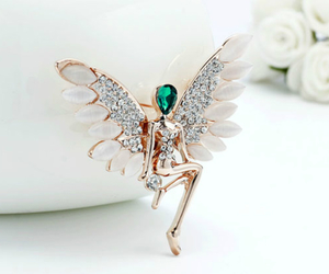 rose gold, angel brooch, and angel wing brooch image
