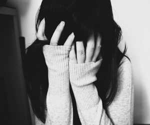 girl, black and white, and sad image
