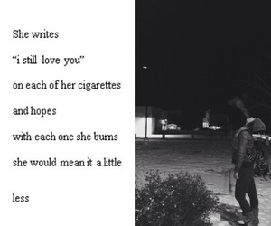 love, sad, and cigarette image