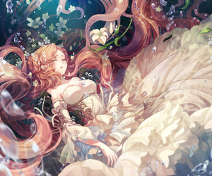 anime girl and ocean image