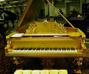 golden, piano, and music image