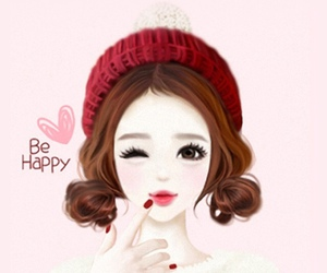 girl, happy, and heart image