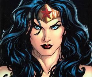 blue eyes, star, and wonder woman image