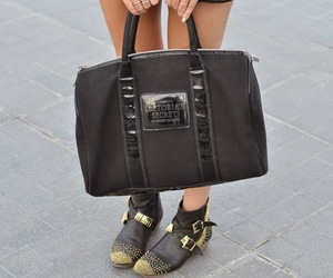 bag, black boots, and studded boots image