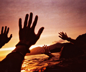 sunset, hands, and beach image