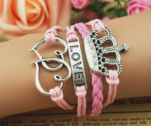 bracelet, love, and pink image