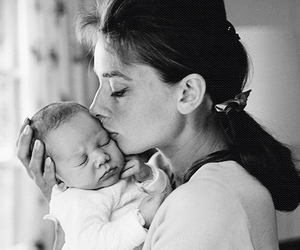 audrey hepburn, baby, and mother image