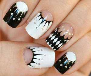 black & white and nails art image
