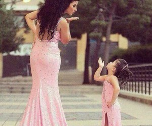 dress, pink, and mom image