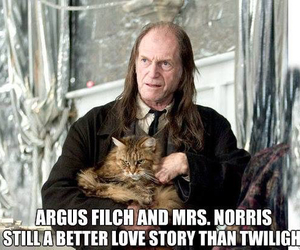 harry potter, twilight, and mrs. norris image