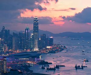 hong kong, wonderful, and sunset image