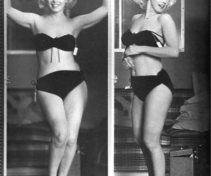 Marilyn Monroe, black and white, and bikini image