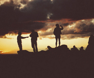 sunset, friends, and boy image