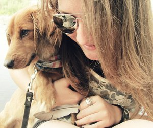 aviators, girl, and puppy image