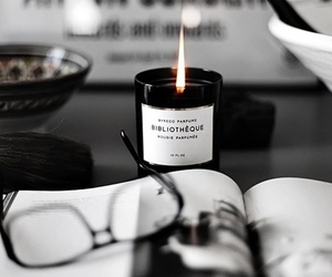 candle, black, and glasses image
