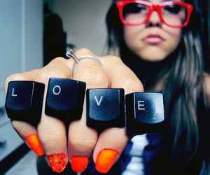 love, girl, and glasses image