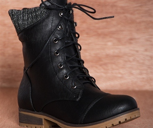 black, combat boots, and sweater cuff image
