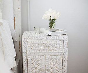 design, white, and flowers image