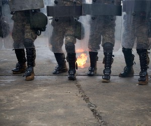 boots, riot gear, and fire image