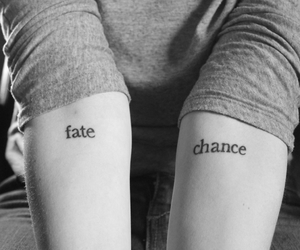 black and white, fate, and forearm tattoo image
