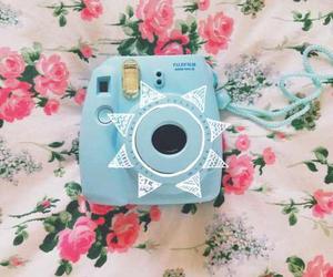 polaroid, blue, and camera image