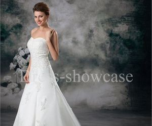 wedding dress, white wedding dress, and wedding gowns image