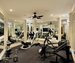 cheap home gym, home gym flooring, and at home gym image