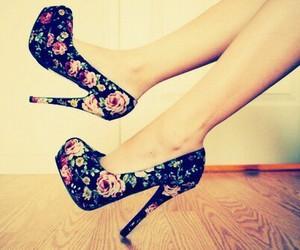black, flowers, and heels image