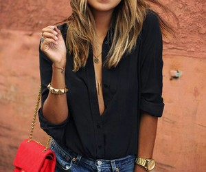 blouse, short, and handbag image