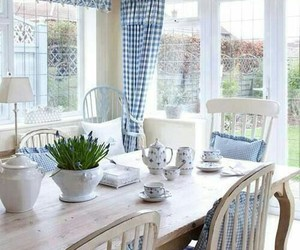 blue and white, decor, and interiors image