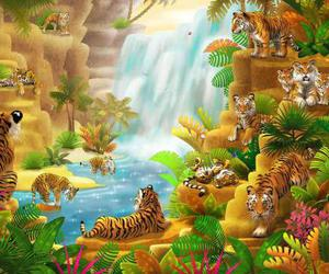 artwork, jungle, and mountains image