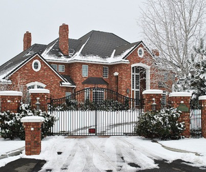 house, snow, and luxury image