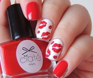 nails, red, and kiss image