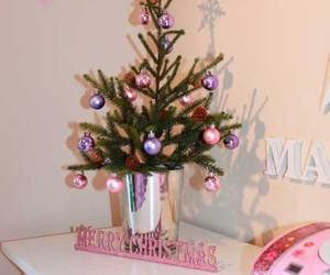 christmas tree, decorations, and pink image