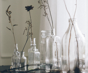 bottles, flowers, and pastel image