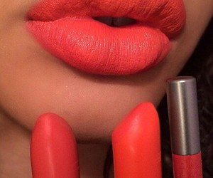 beauty, red lipstick, and coral image