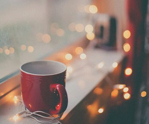 lights, window, and hot ​chocolate image
