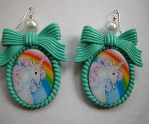 earrings, unicorn, and rainbow image