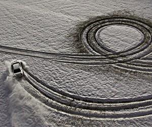 car, circles, and snow image
