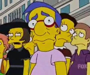 milhouse, sad, and simpsons image