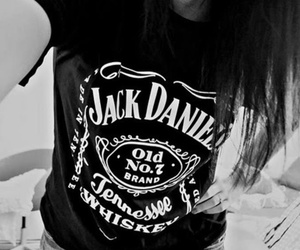 girl, jack daniels, and black and white image